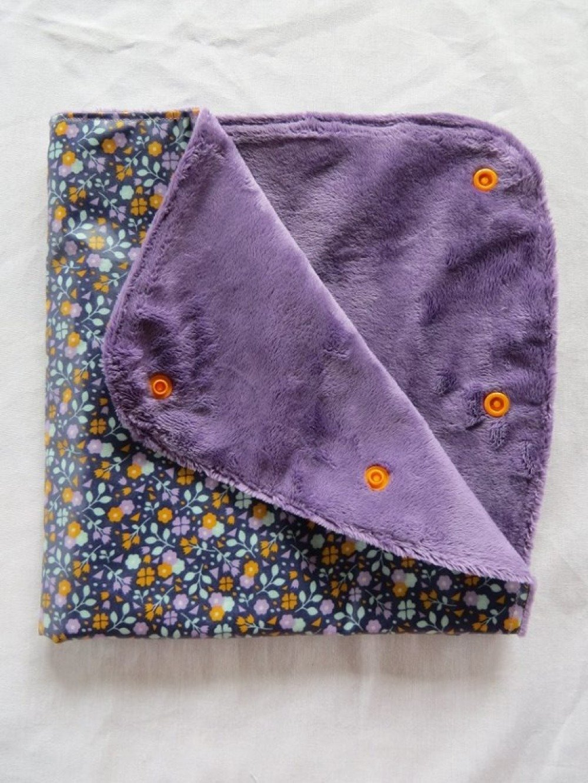 Manchon de poussette imperméable et chaud liberty violet et orange