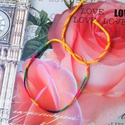 """Bracelet brésilien porte bonheur lucky charm cordon jaune """"chance"""" et multicolore, pl 198 j unisexe adultes et enfants"""