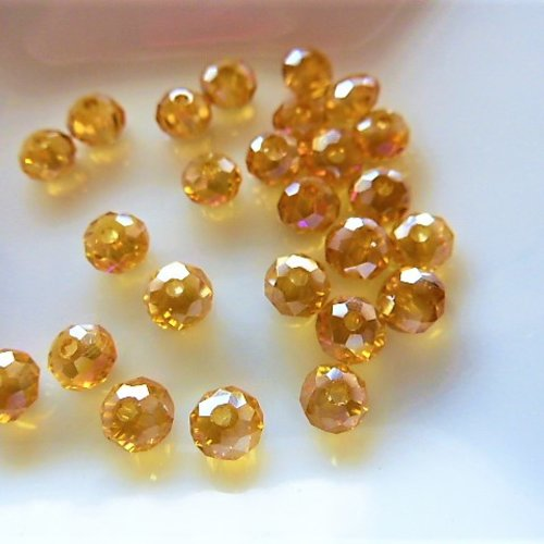 25 perles cristal ab facettes 4 mm ambré pl 181 pour créations bijoux, décoration accessoires, loisirs créatifs