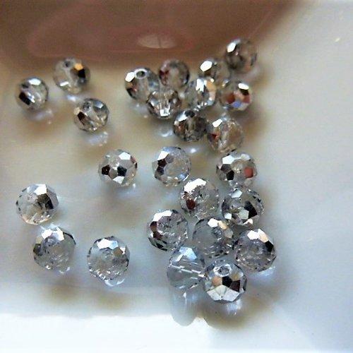 25 perles cristal ab facettes 4 mm reflets argent  pl 181 pour créations bijoux, décoration accessoires, loisirs créatifs