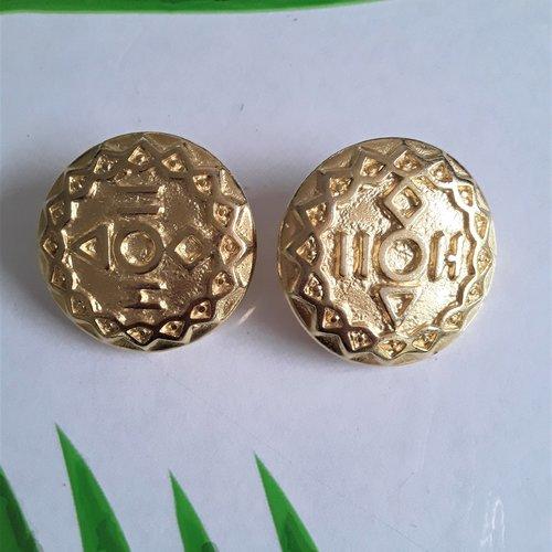 Boucles d'oreilles clips cabochon doré 30 mm motif géométrique amérique du sud pour oreilles non percées