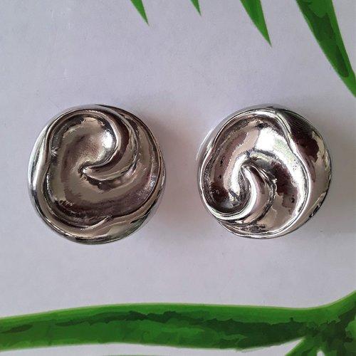Boucles d'oreilles cabochons argent clips 30 mm pour oreilles non percées
