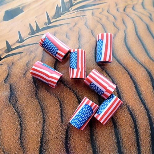 7 perles tubes drapeau américain en pâte polymère 11 mm lap 555 b pour créations bijoux style country, cow boys