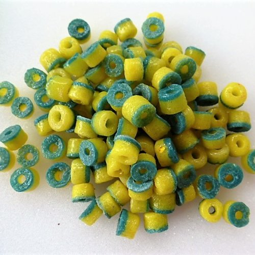30 perles kobo du ghana rondelles en verre recyclé verte et jaune 7 x 6 mm pl 10 pour création bijoux style ethnique