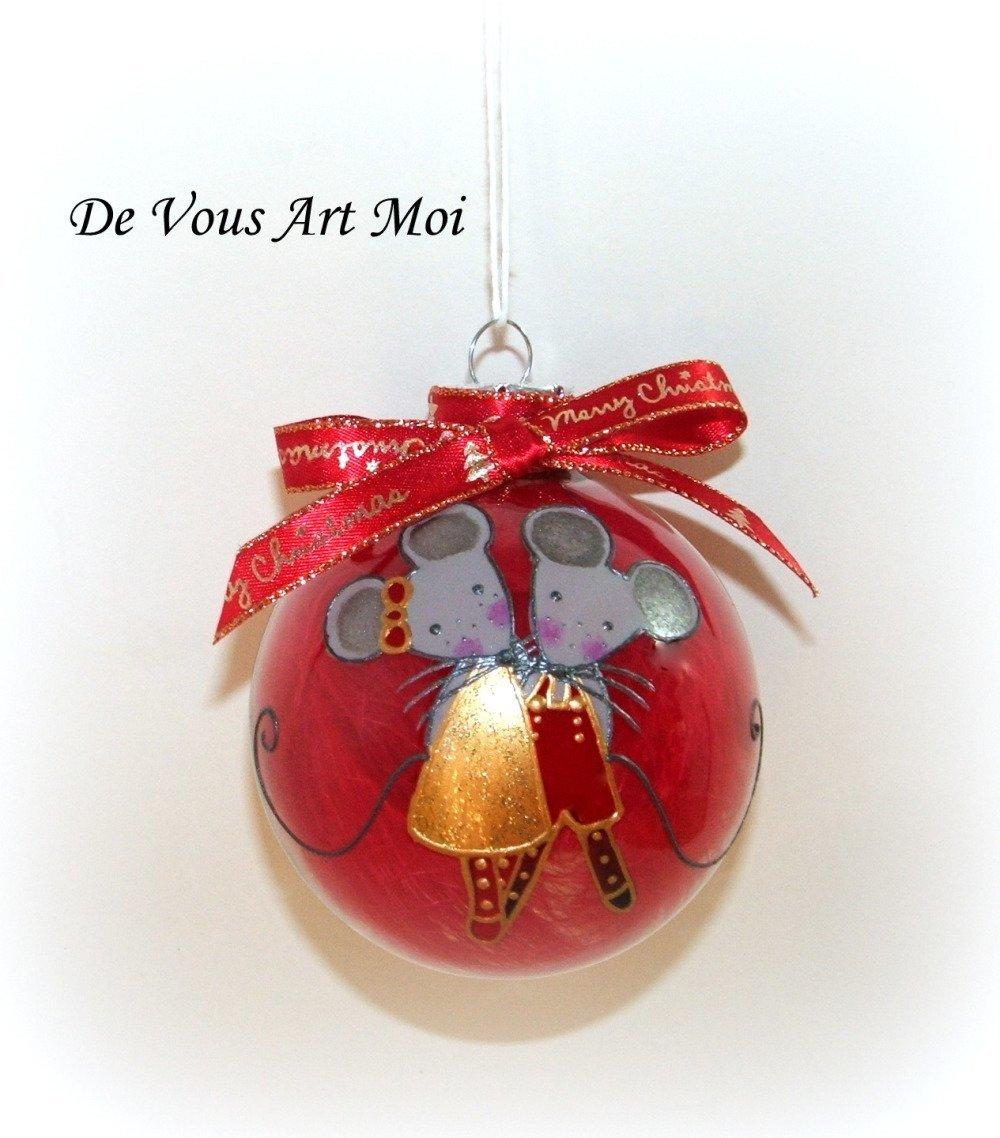 2 grande 10 cm Boules De Noël Verre Décorations De Noël peinte