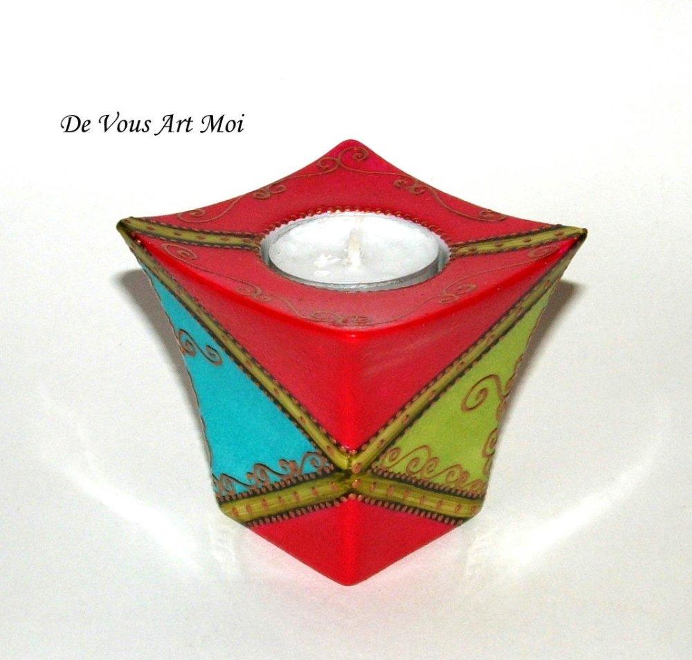 Bougeoir haut coloré original,porcelaine,décoration bougie bohème,peinte main