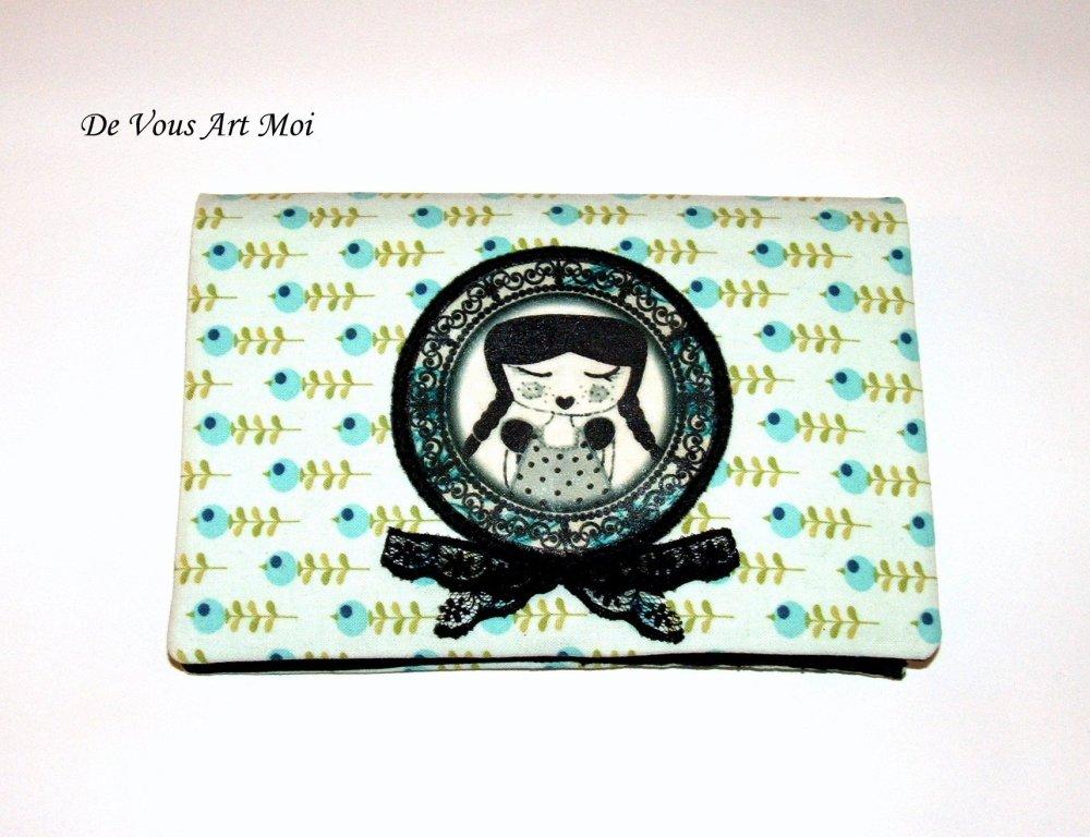 Protège chéquier et porte cartes femme,tissus,fait main