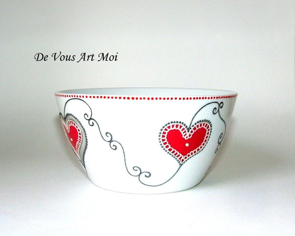 Bol en porcelaine,motif coeur,rouge gris,peint main