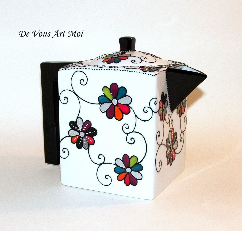 Théière porcelaine peinte main,colorée bohème,artisanale