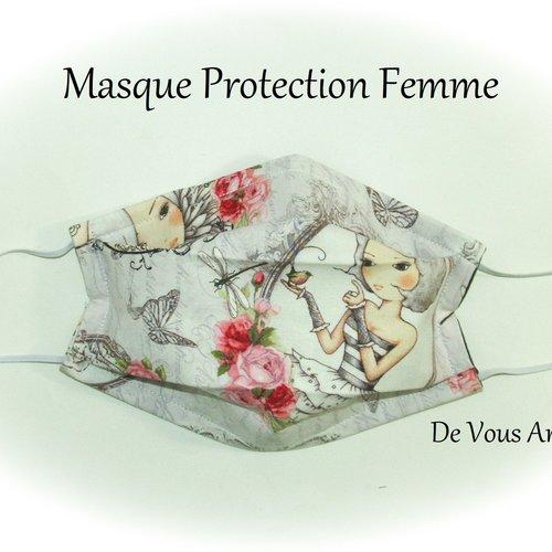 Masque protection visage femme,masque tissus protection femme,fait main