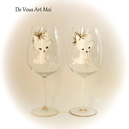 Duo grands verres vin,cadeau thème noël,fait main,verre artisanal peint main