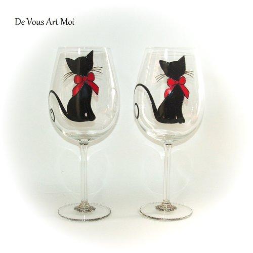 Duo grands verres vin,cadeau thème chat,fait main,verre artisanal peint main