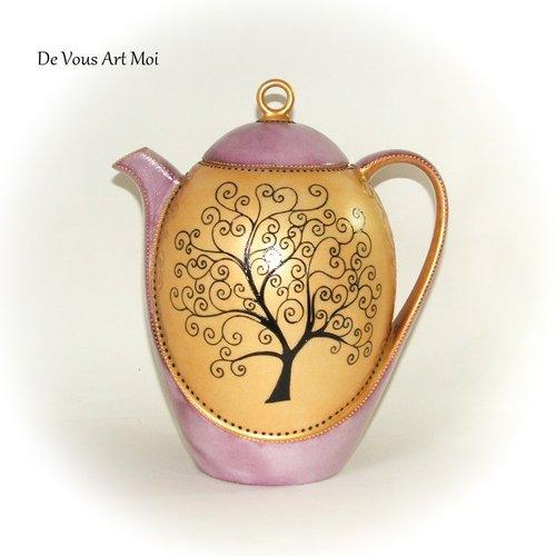 Théière porcelaine arbre de vie,théière originale céramique peinte,artisanale