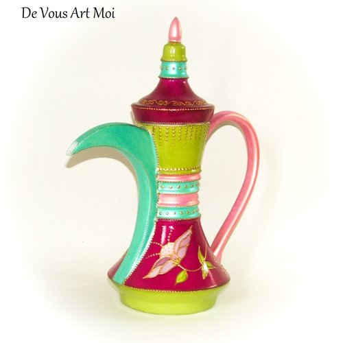 Théière porcelaine céramique originale,fait main,théière colorée orientale peinte,artisanale
