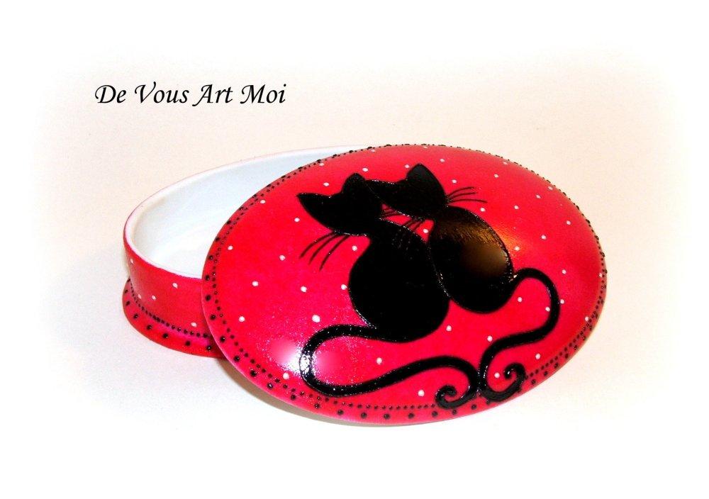 Boite coffret en porcelaine,couple de chat nopir peint main,cadeau amoureux,mariage saint valentin
