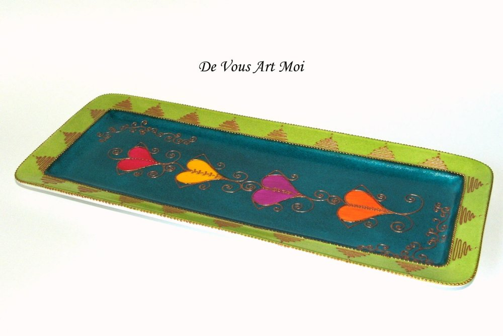 Plateau plat à gâteau,plat rectangle coloré en porcelaine,fait main