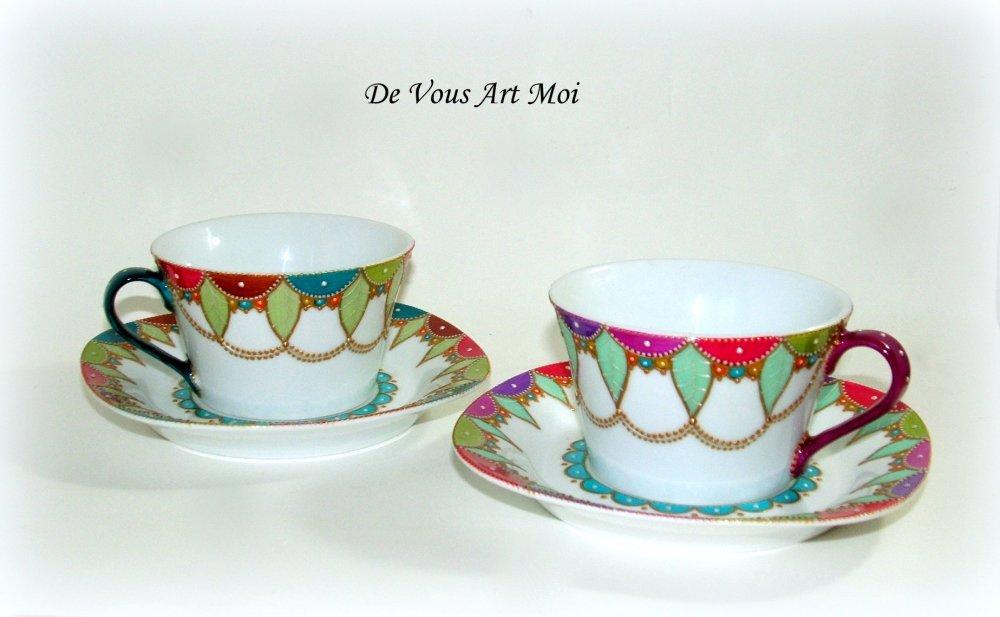 Tasse et soucoupe colorée porcelaine,duo tasse déjeuner original,peint main