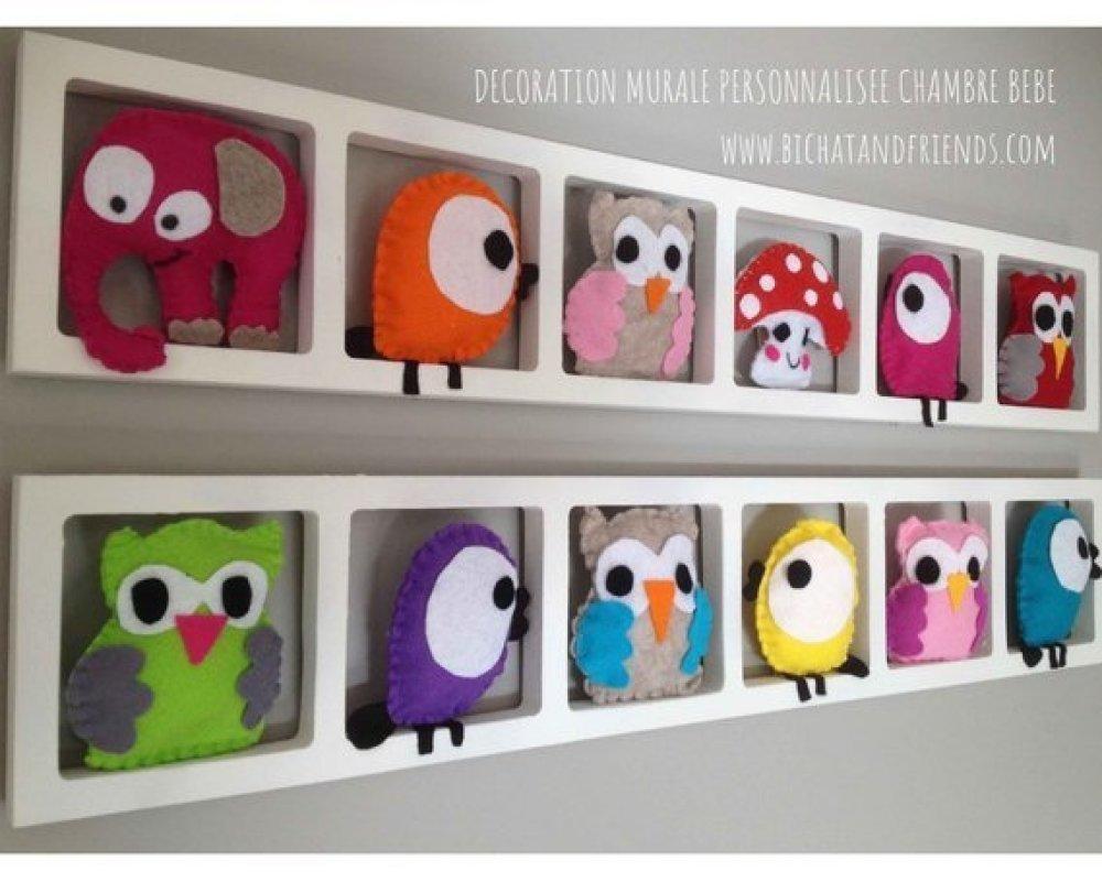 Décoration murale chambre enfant, thème oiseaux hiboux