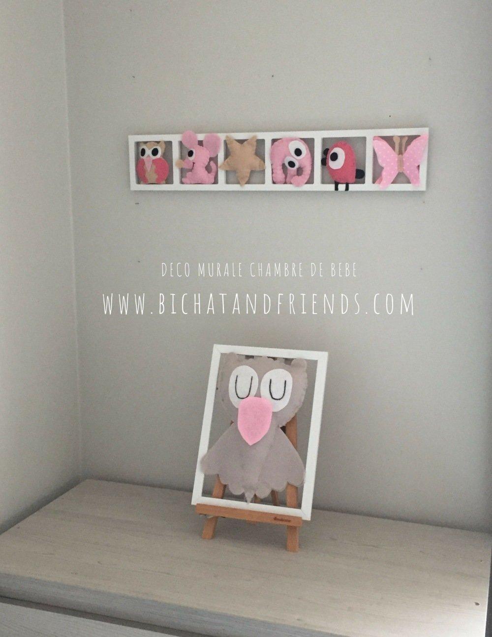 Deco Chambre Bebe Fille décoration chambre bébé fille , rose beige , cadeau original.