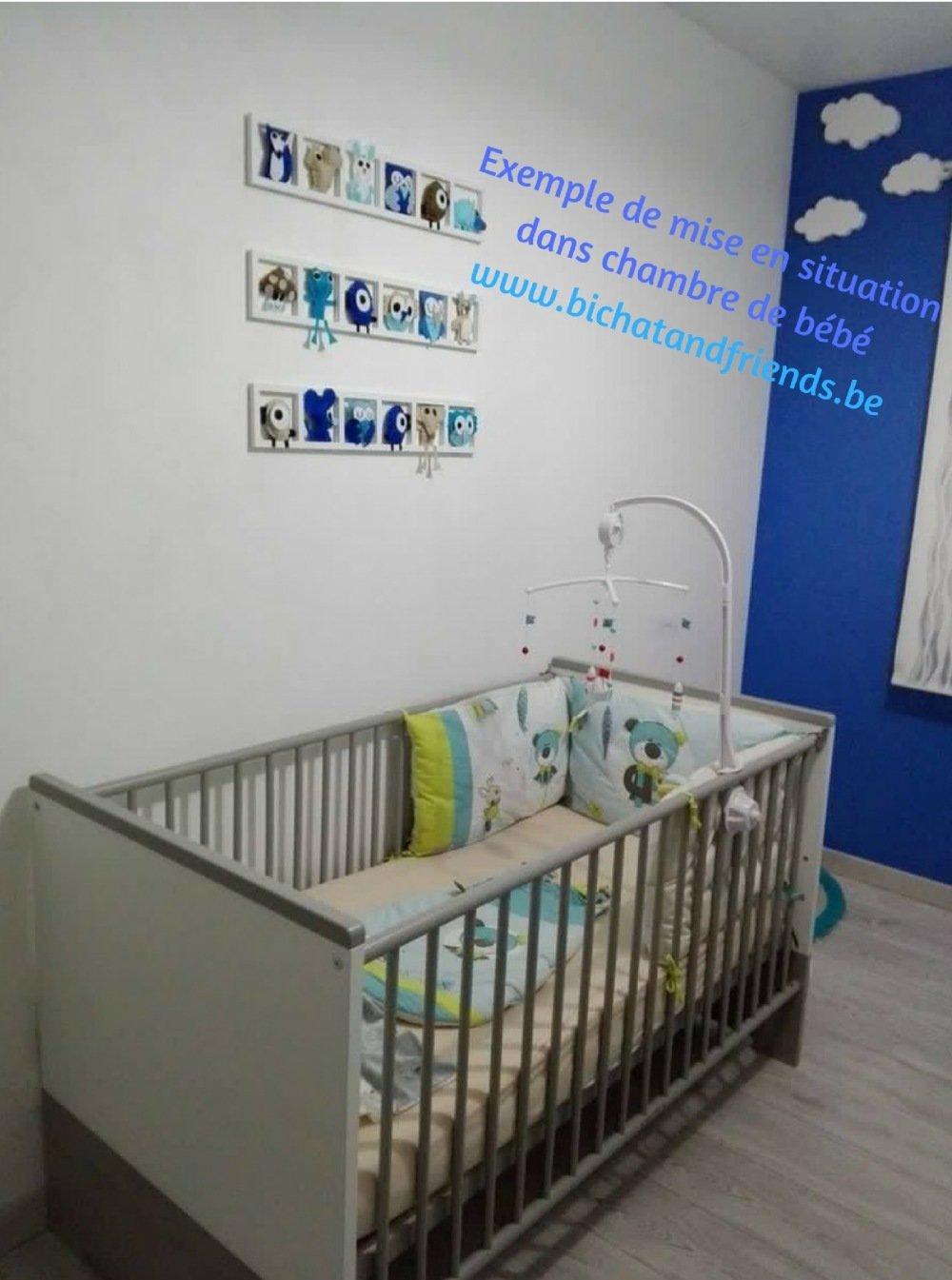 Idée décoration chambre enfant et bébé. Cadre mural animaux colores