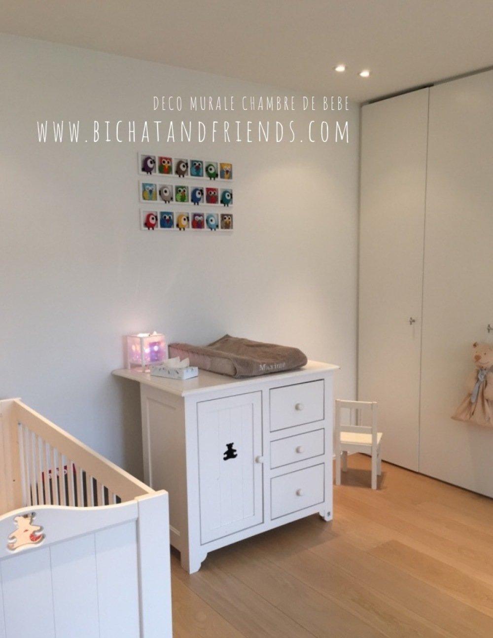 Deco Chambre Bebe Fille decoration chambre enfant | bebe | cadre mural | hiboux oiseaux  multicolores | cadeau bébé fille et garçon