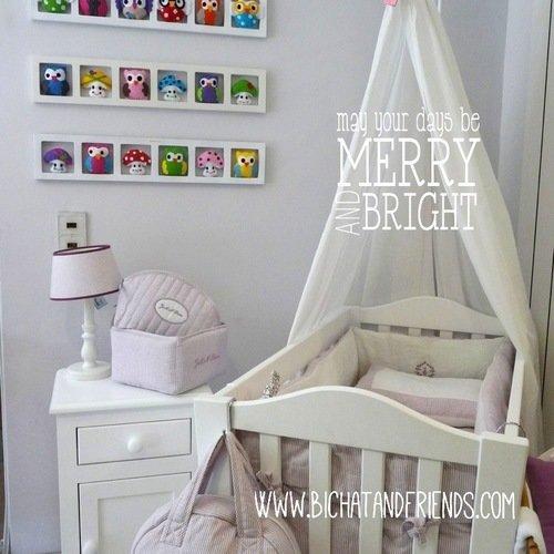 Decoration chambre bebe | chambre enfant | cadre mural | animaux de la  foret | gris vert rose | cadeau bébé.