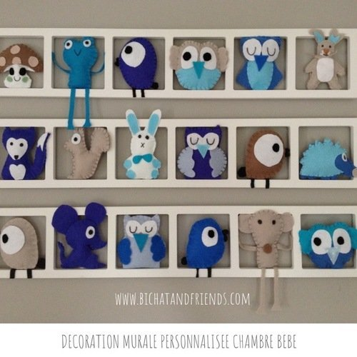Deco chambre bebe | chambre enfant | cadre mural | animaux en feutrine |  bleu taupe beige turquoise | cadeau bébé.