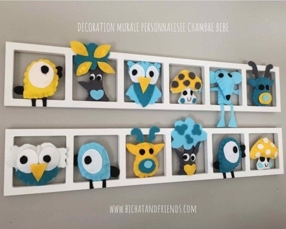 Deco chambre bebe et enfant. cadre mural avec animaux en feutrine jaune ,  gris et turquoise.