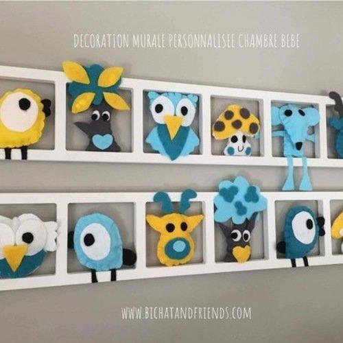 Deco chambre bebe et enfant. cadre mural avec animaux en ...
