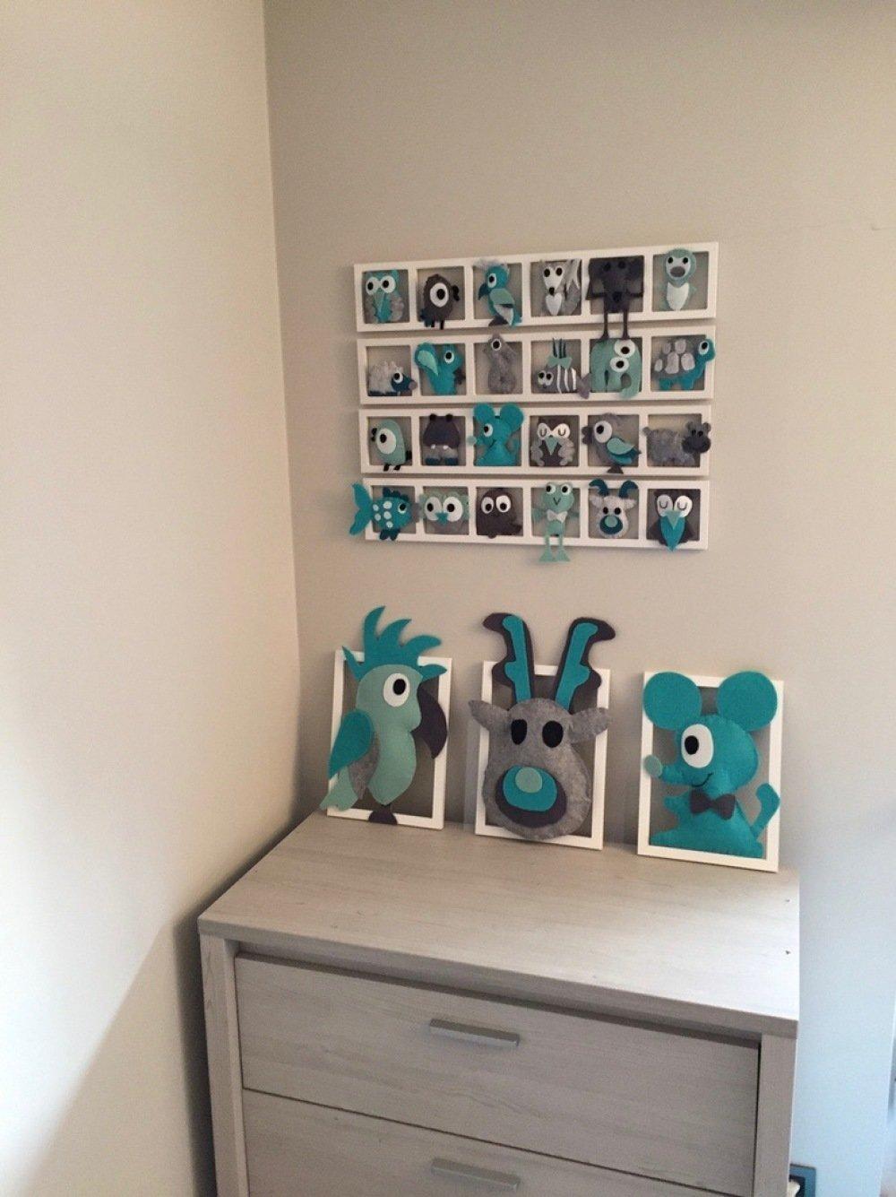 Cadre deco chambre bebe, animaux de la foret tons gris turquoise vert,  personnalise