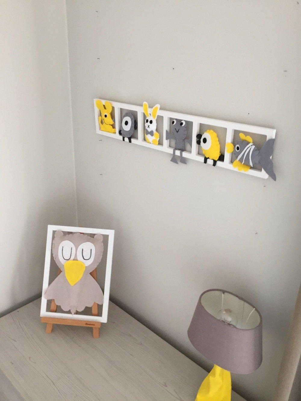 Deco Chambre Jaune Et Gris cadre mural deco chambre bébé, animaux jaune gris, cadeau de naissance