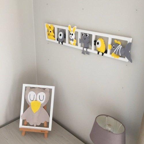 cadre mural deco chambre bébé, animaux jaune gris, cadeau de naissance