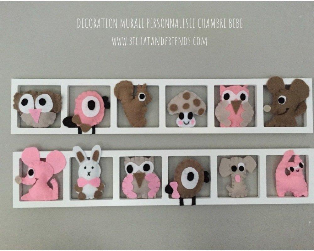 Décoration murale chambre bébé fille, animaux des bois , tons rose beige  taupe.