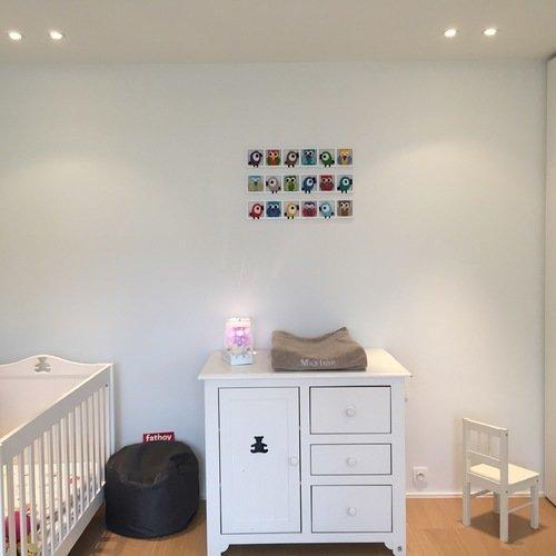 decoration chambre bébé fille - composition tons gris et rose