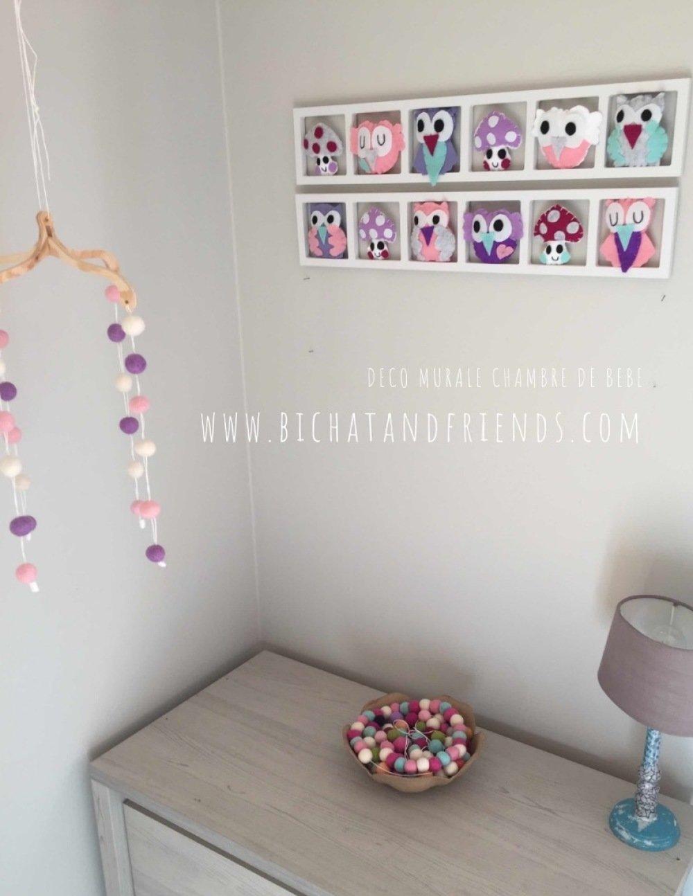 Deco Chambre Bebe Fille décoration murale pour chambre d'enfant et bébé originale et unique! rose  et lila - chambre bebe fille