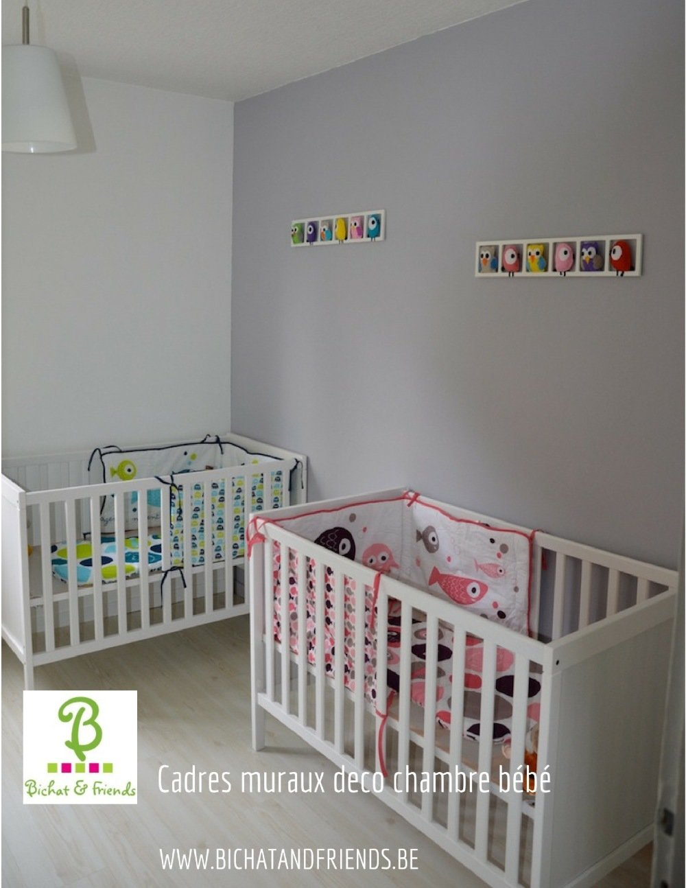Décoration Mauve Et Gris décoration chambre enfant. cadre mural avec animaux rose gris jaune et  mauve.