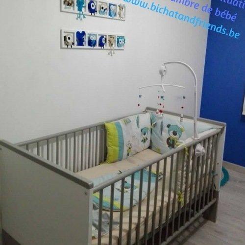 Décoration chambre enfant et bébé unique et origniale - bleu te beige