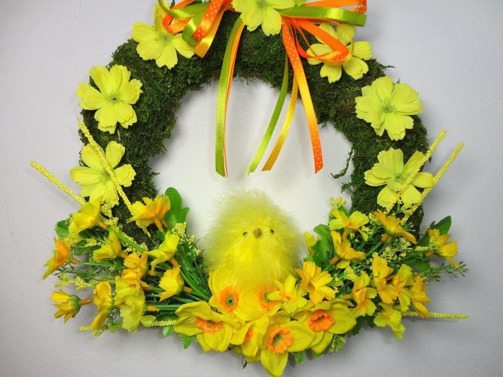 Couronne porte d'entrée pâques, bienvenue au printemps.