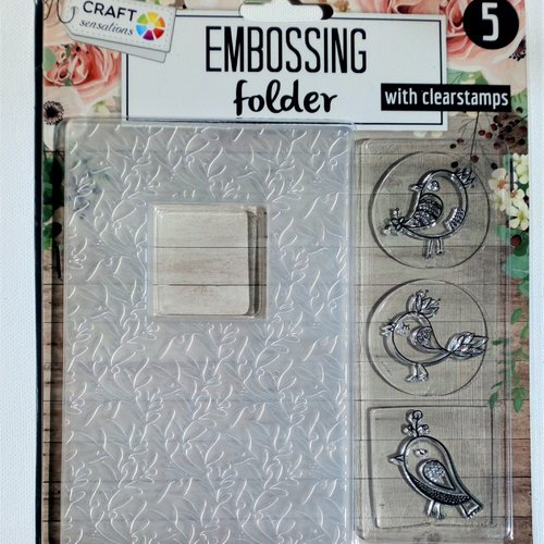 Plaque embossing et 3 tampons oiseaux