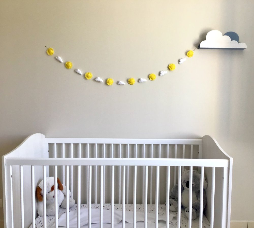 Comment Accrocher Une Guirlande Lumineuse Au Mur guirlande lumineuse soleil, nuage/ décoration chambre d'enfant