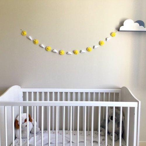 Guirlande lumineuse soleil, nuage/ décoration chambre d\'enfant