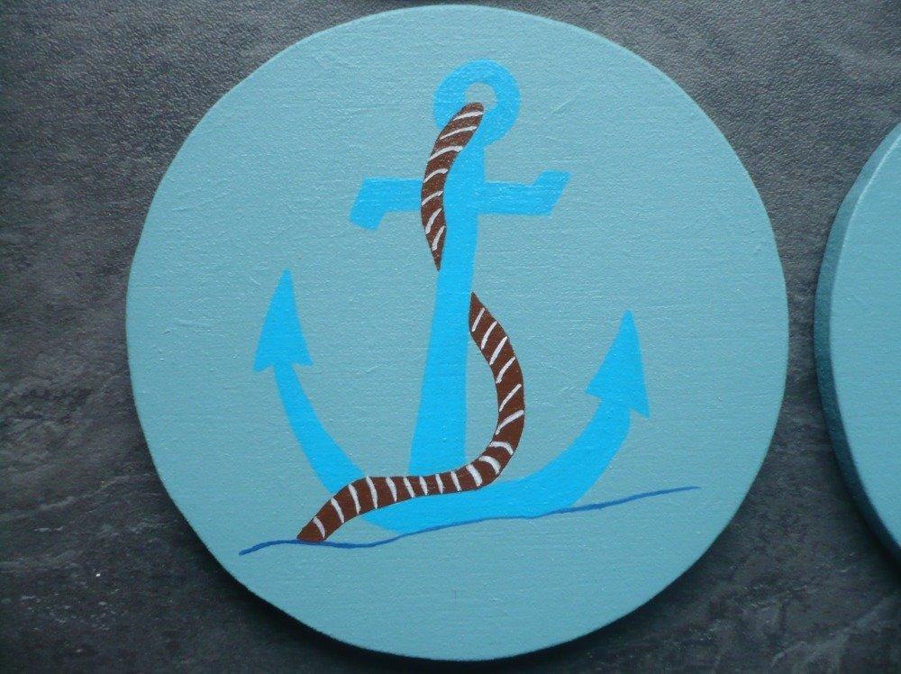 """6 Dessous de verre """"De la Mer"""" peints à la main"""
