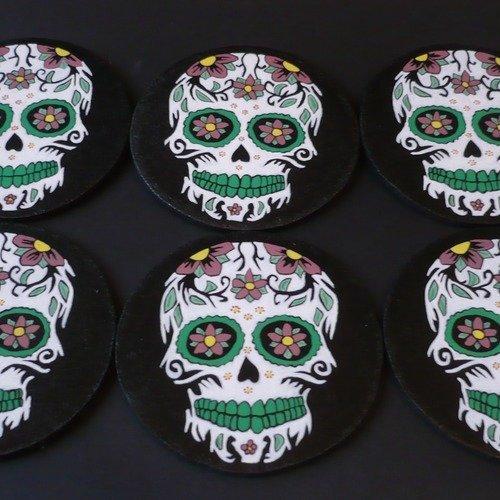 6 Dessous De Verre Tête De Mort Mexicaine Un Grand Marché