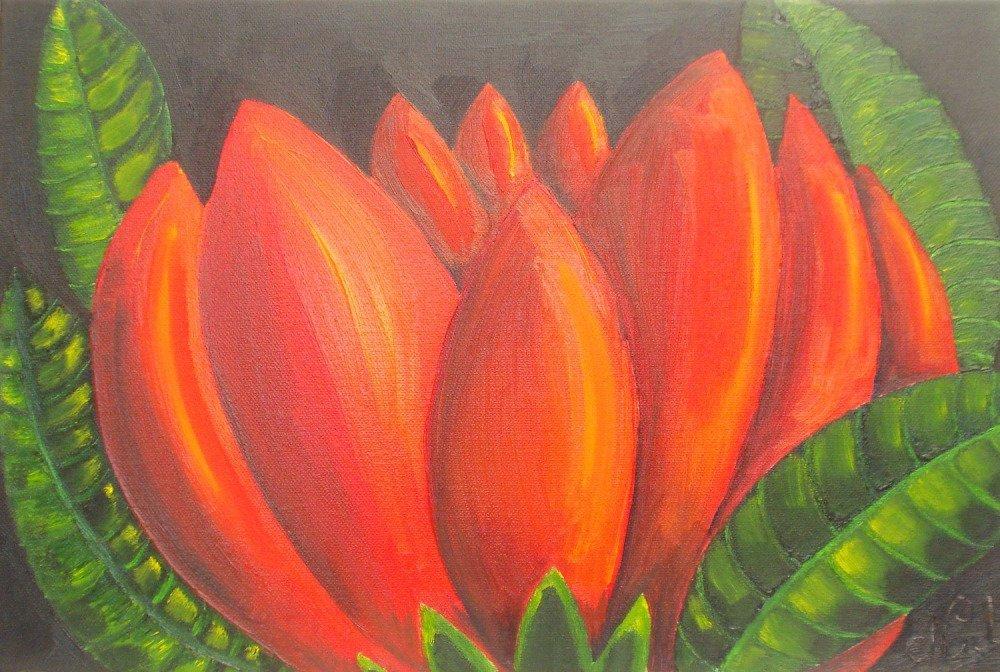 Peinture à l'huile, fleur exotique rouge