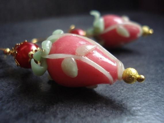 boucles d'oreilles porcelaine froide - fraises des sous-bois