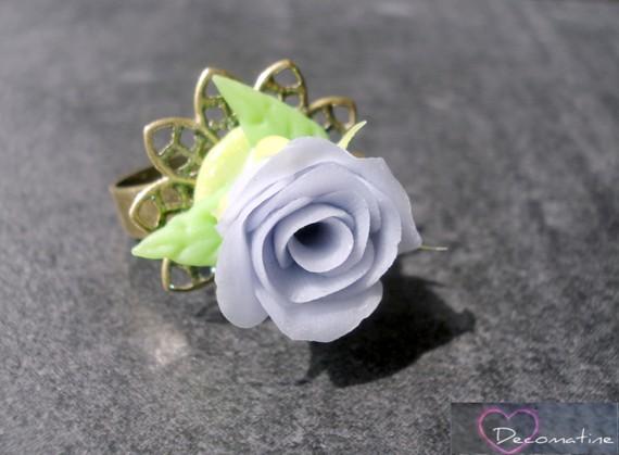 bague bronze et rose porcelaine froide