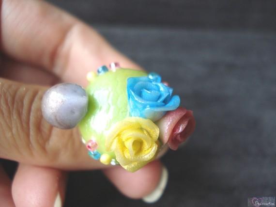 bague petit hérisson et roses