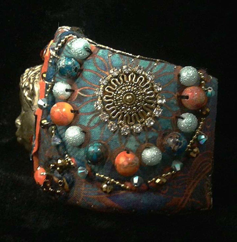 Bracelet manchette Ethiopie en coton imprimé bleu orange doré