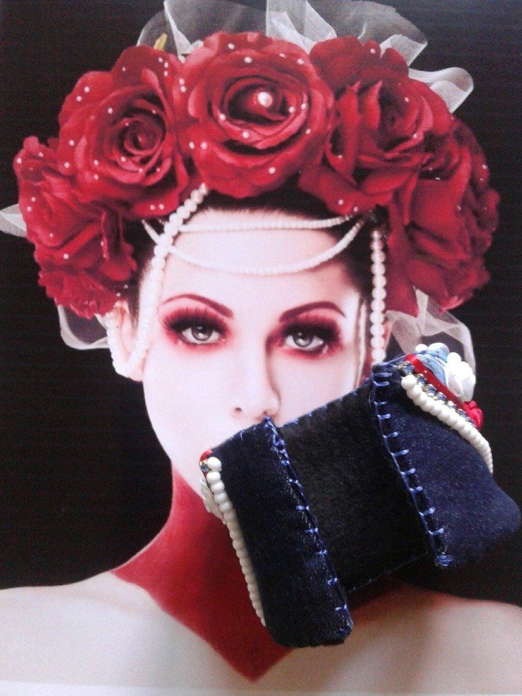Bracelet manchette liberty en jean bleu,rouge,blanc