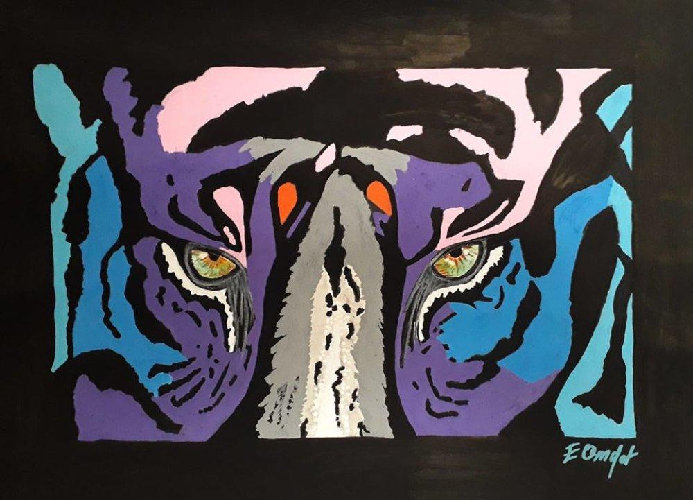 Dessin de tigre en gros plan pop art